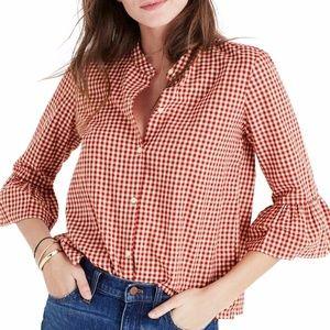 Madewell Gingham Bell Sleeve Shirt S